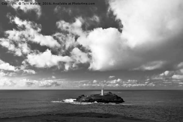 Clouds Over Godrevy Lighthouse Canvas print by Terri Waters