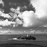 Buy canvas prints of Clouds Over Godrevy Lighthouse by Terri Waters