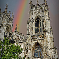 Buy canvas prints of Rainbow over York Minster by Colin Metcalf