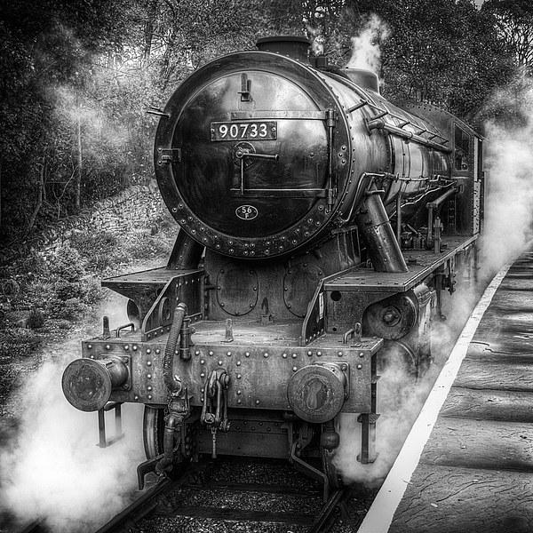 Under Steam Again. Mono. Canvas print by Colin Metcalf