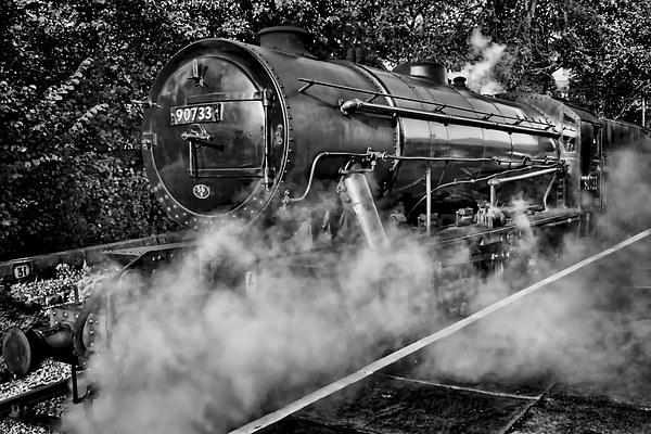 Austerity Class Engine in Mono Canvas print by Colin Metcalf