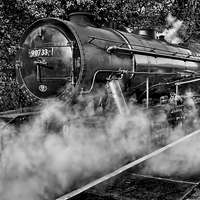 Buy canvas prints of Austerity Class Engine in Mono by Colin Metcalf