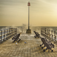 Buy canvas prints of Sunrise over Swanage Jetty by Linsey Williams
