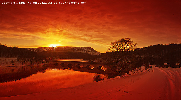 Snow At Ladybower Canvas print by Nigel  Hatton