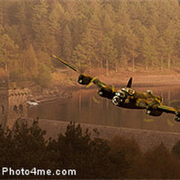 Buy canvas prints of Lancaster Over The Dams by Nigel  Hatton