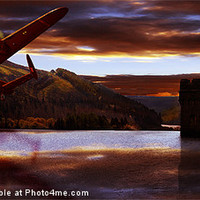 Buy canvas prints of Lancaster Over Howden Dam by Nigel  Hatton