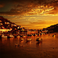 Buy canvas prints of Looe at Sunset by Nigel  Hatton