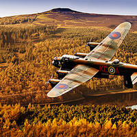 Buy canvas prints of Lancaster Over Ladybower by Nigel  Hatton