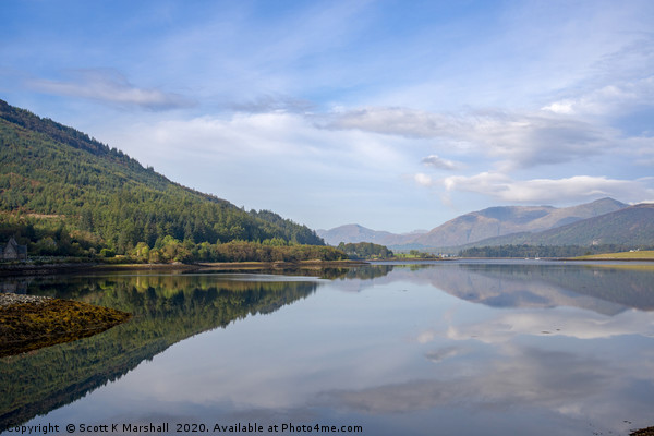 Loch Leven tranquil autumn reflection Canvas print by Scott K Marshall