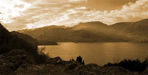 Ullswater Sepia Canvas print by Lee Dawson