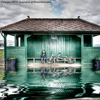 Buy canvas prints of Millport Shelter In The Floods by Valerie Paterson