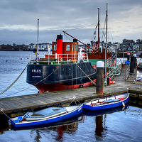 Buy canvas prints of Boats on Irvine Harbour by Valerie Paterson