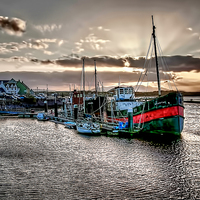 Buy canvas prints of Spartan on Irvine Harbour  by Valerie Paterson