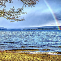 Buy canvas prints of  Loch Lomond Rainbow by Valerie Paterson