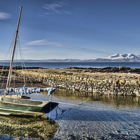 Buy canvas prints of Boat in Portencross Harbour by Valerie Paterson