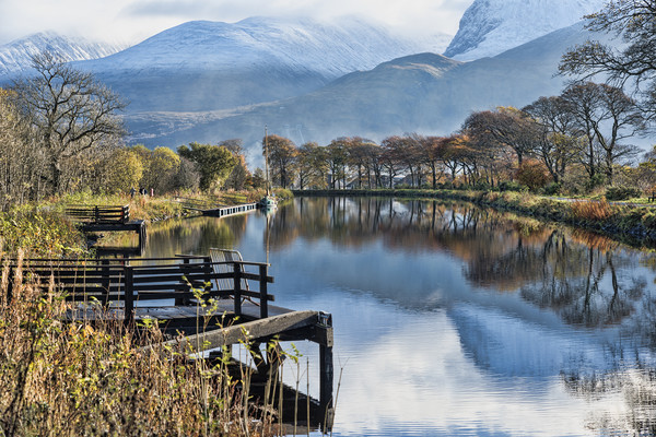 Caledonian Canal and the Nevis Range Canvas print by Valerie Paterson