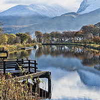 Buy canvas prints of Caledonian Canal and the Nevis Range by Valerie Paterson