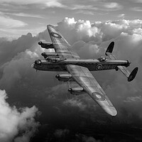 Buy canvas prints of Lancaster PH-D in flight B&W version by Gary Eason