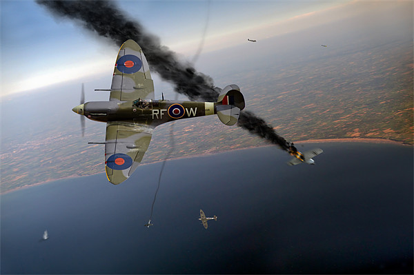 Spitfire Channel dogfight Framed Mounted Print by Gary Eason + Flight Artworks
