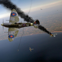 Buy canvas prints of Spitfire Channel dogfight by Gary Eason + Flight Artworks