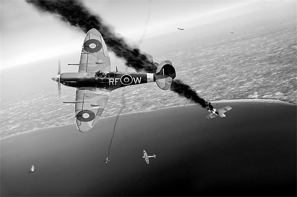 Spitfires in Channel dogfight Framed Mounted Print by Gary Eason + Flight Artworks