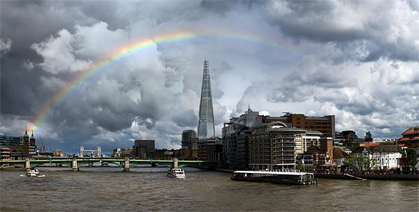 Thames rainbow with Shard and Globe Canvas print by Gary Eason + Flight Artworks