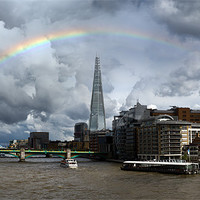 Buy canvas prints of Thames rainbow with Shard and Globe by Gary Eason + Flight Artworks