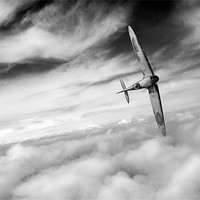 Buy canvas prints of Freedom: Spitfire solo B&W version by Gary Eason + Flight Artworks