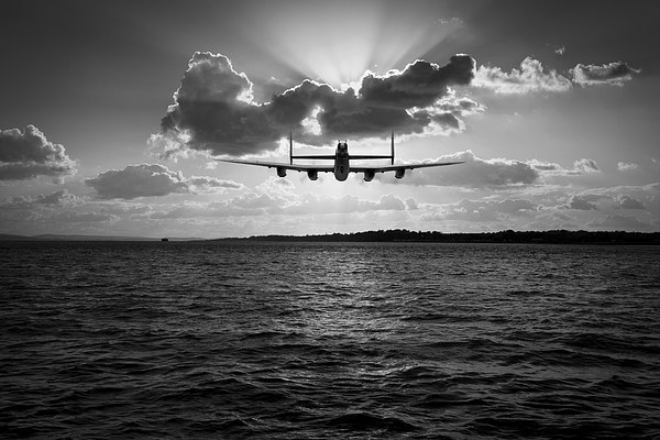 Job done Lancaster seascape B&W version Canvas print by Gary Eason + Flight Artworks