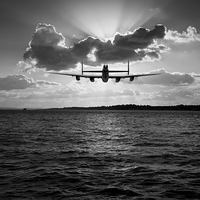 Buy canvas prints of Job done Lancaster seascape B&W version by Gary Eason + Flight Artworks