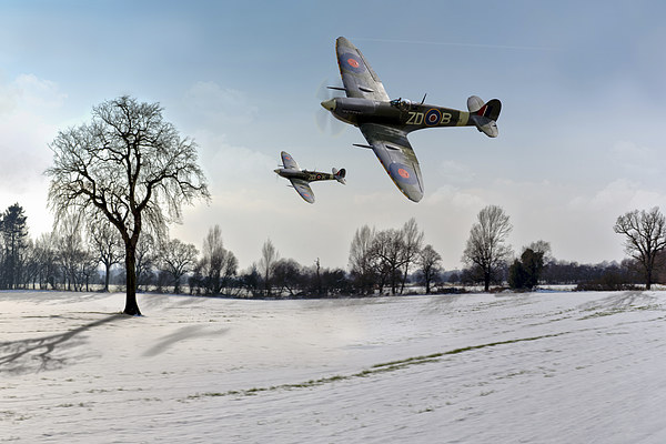 Boys will be boys: low-flying Spitfires Canvas print by Gary Eason + Flight Artworks