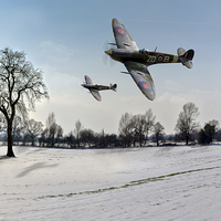 Buy canvas prints of Boys will be boys: low-flying Spitfires by Gary Eason + Flight Artworks
