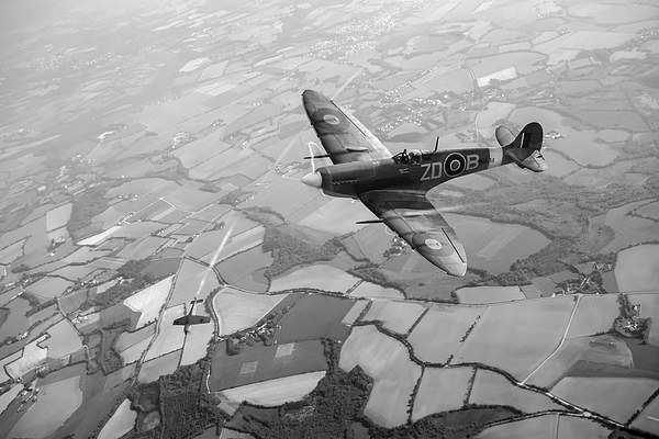 Spitfire victory black and white version Framed Mounted Print by Gary Eason + Flight Artworks