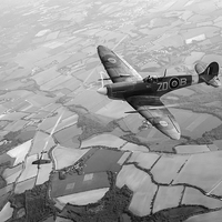 Buy canvas prints of Spitfire victory black and white version by Gary Eason + Flight Artworks