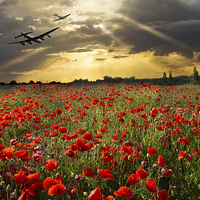 Buy canvas prints of The final sortie: Lancaster Spitfire Hurricane by Gary Eason + Flight Artworks