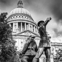 Buy canvas prints of Blitz firefighters memorial grainy black and white by Gary Eason + Flight Artworks