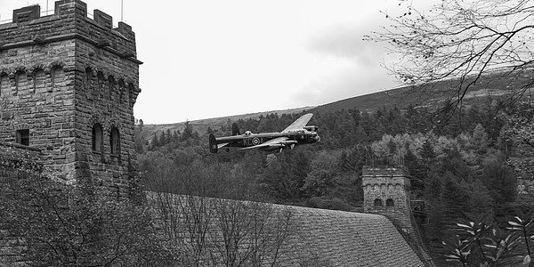 Lancaster PA474 at the Derwent Dam black and white Canvas print by Gary Eason + Flight