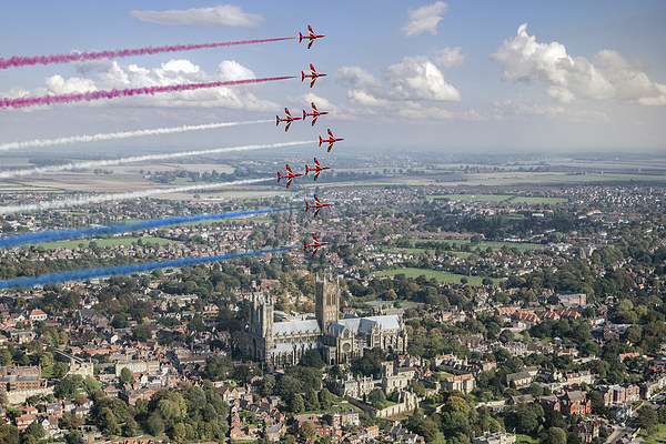 Red Arrows over Lincoln smoke on Canvas Print by Gary Eason + Flight