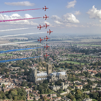 Buy canvas prints of Red Arrows over Lincoln smoke on by Gary Eason + Flight