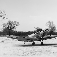 Buy canvas prints of Spitfire in the snow black and white version by Gary Eason + Flight
