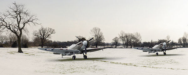 Spitfires in the snow Canvas Print by Gary Eason + Flight