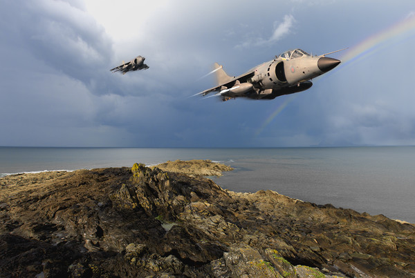 Sea Harriers over the Falklands Canvas print by Gary Eason