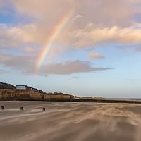 Buy canvas prints of Rainbow over windblown sand on Frinton Beach by Gary Eason