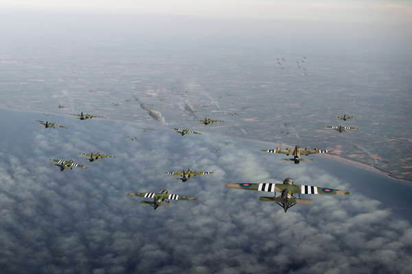 D-Day Stirlings and Horsa gliders Canvas print by Gary Eason