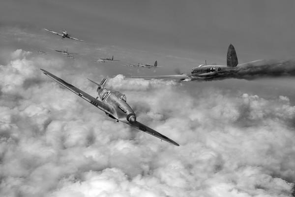 Hurricanes attacking Heinkel head-on B&W version Print by Gary Eason