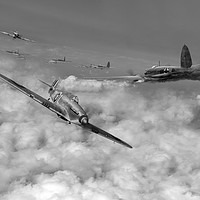 Buy canvas prints of Hurricanes attacking Heinkel head-on B&W version by Gary Eason