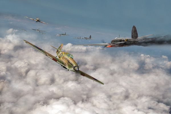 Hurricanes attacking Heinkel head-on Print by Gary Eason