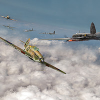 Buy canvas prints of Hurricanes attacking Heinkel head-on by Gary Eason