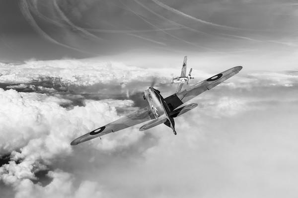 Hawker Hurricane deflection shot, B&W version Print by Gary Eason