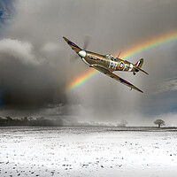 Buy canvas prints of Spitfire with snow shower rainbow by Gary Eason
